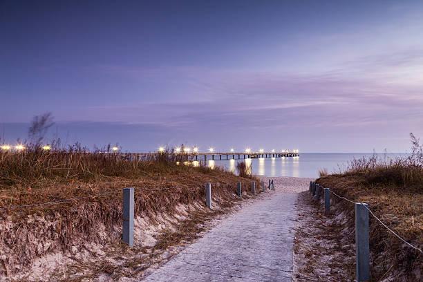 Way to a coastal Landscape at dawn. Pier Binz stock photo
