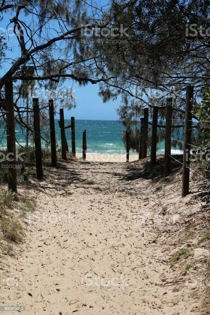 Way to beach of Sunshine Coast in summer in Queensland, Australia stock photo