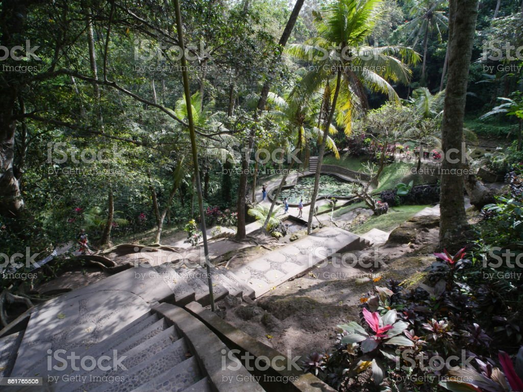 Way to Buddhist temple at Goa Gajah, Bali stock photo