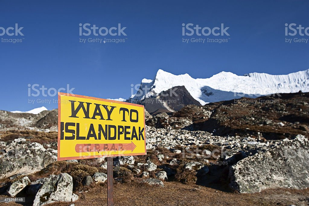 Way to Island Peak stock photo