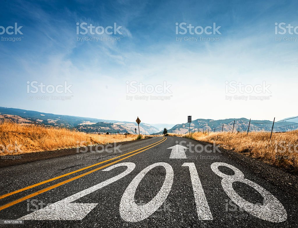 Way to new year 2018 stock photo