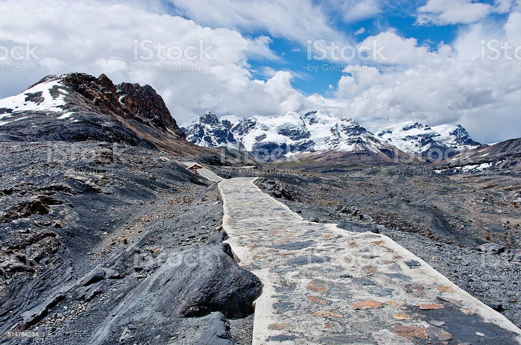 Way to  Pastoruri glacier in Cordillera Blanca, Northern Peru stock photo