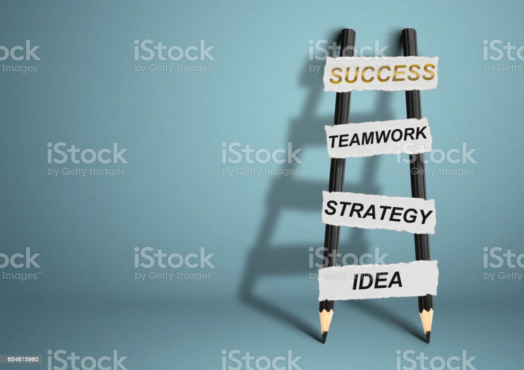way to success concept, pencil Ladder stock photo