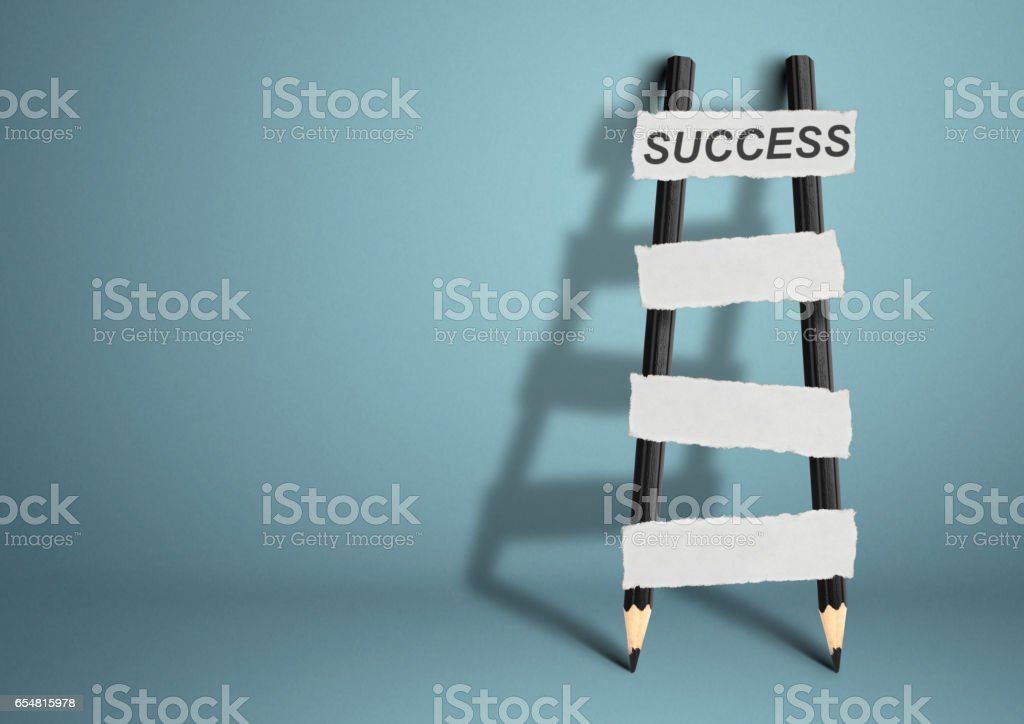 way to success concept, pencil Ladder with blank stairs stock photo