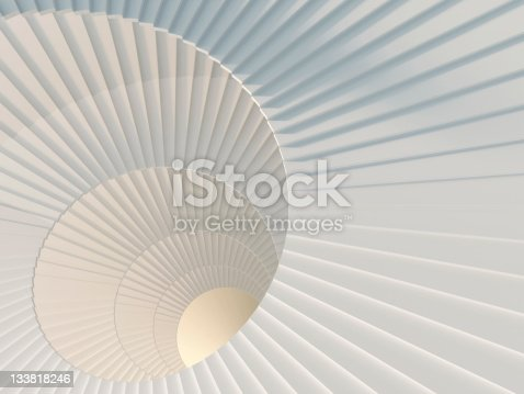 Fragment of beautiful white spiral staircase