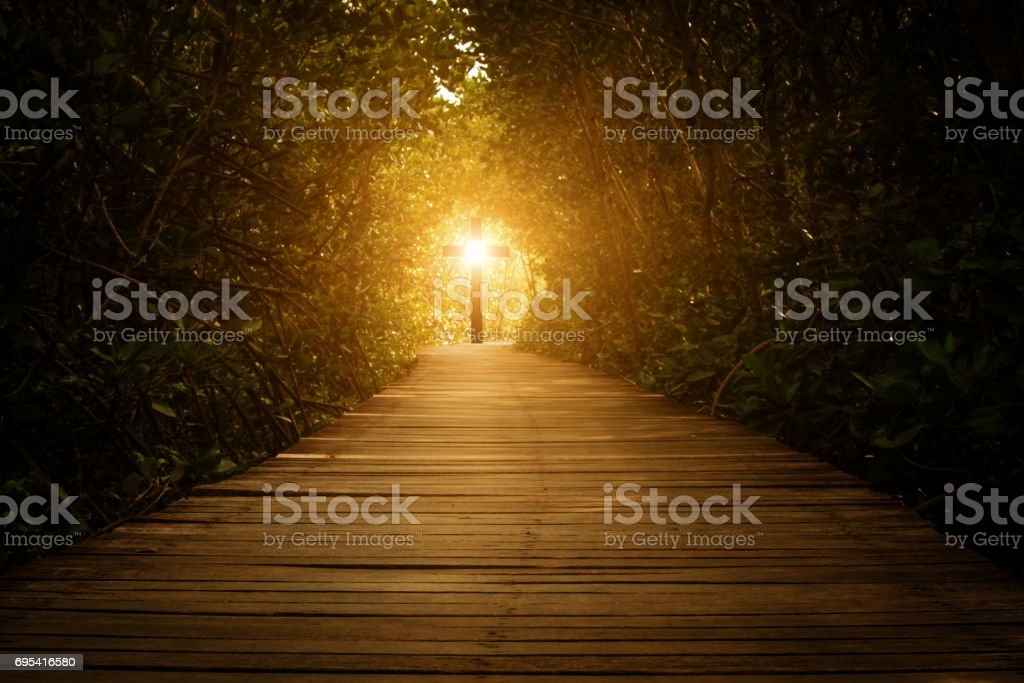 Way to the Cross of Christ stock photo