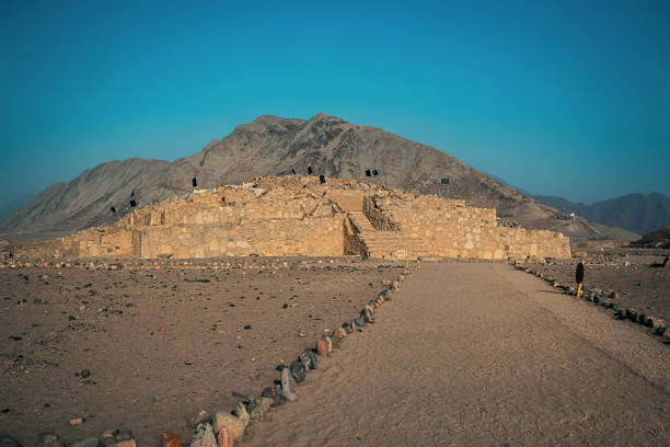 way to the pyramid in Caral stock photo