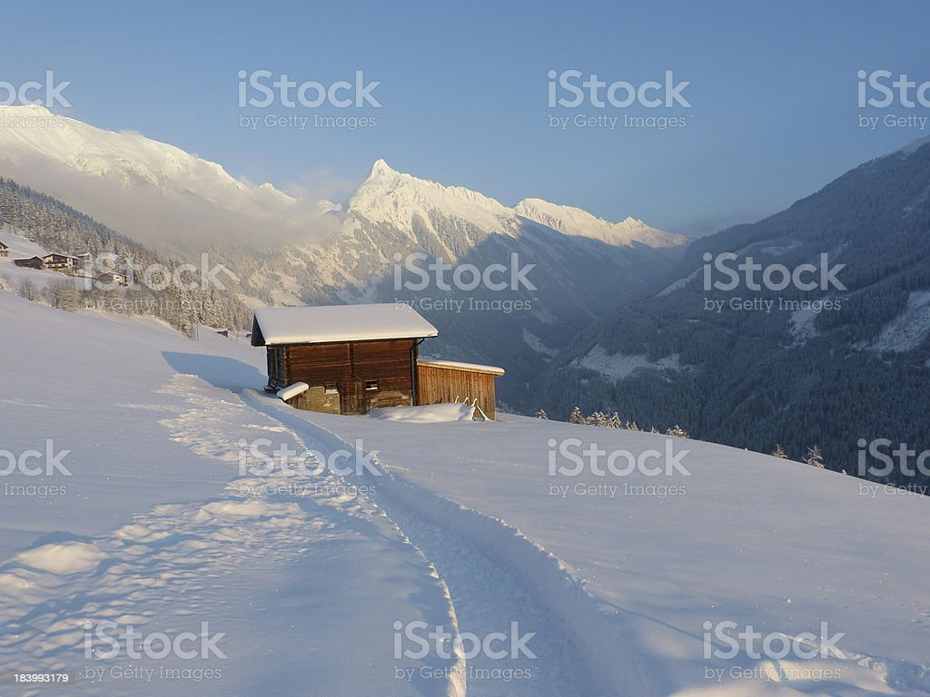 Way to the ski lodge royalty-free stock photo