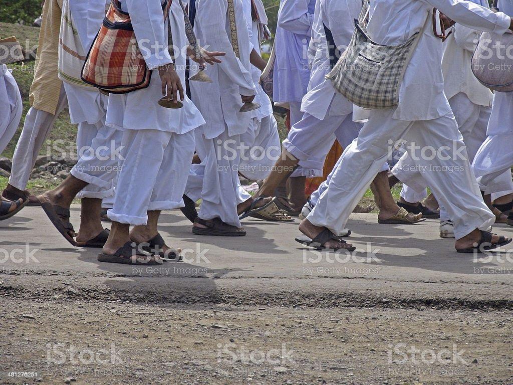 Wayfarers during Sant Dnyaneshwar Palakhi, stock photo