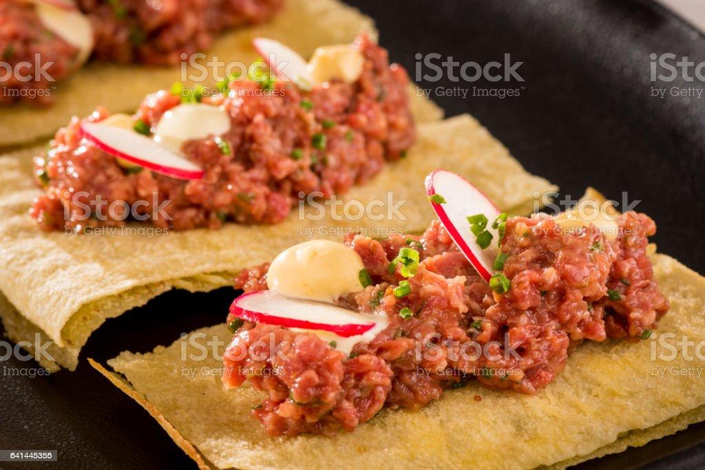 Waygu beef tartar stock photo