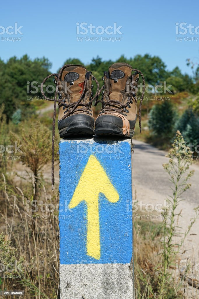 Waymark along the Way of St. James, Spain, Europe stock photo