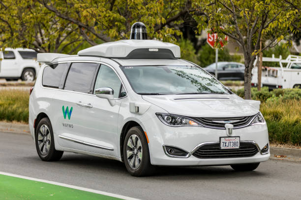 waymo-pacifica-chrysler-mountain-view - self driving car stock photos and pictures