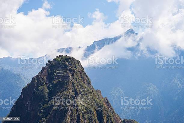 Photo of Wayna Picchu mountain peak over Machu Picchu, Peru