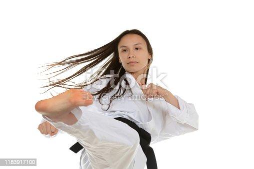 Martial artist training.