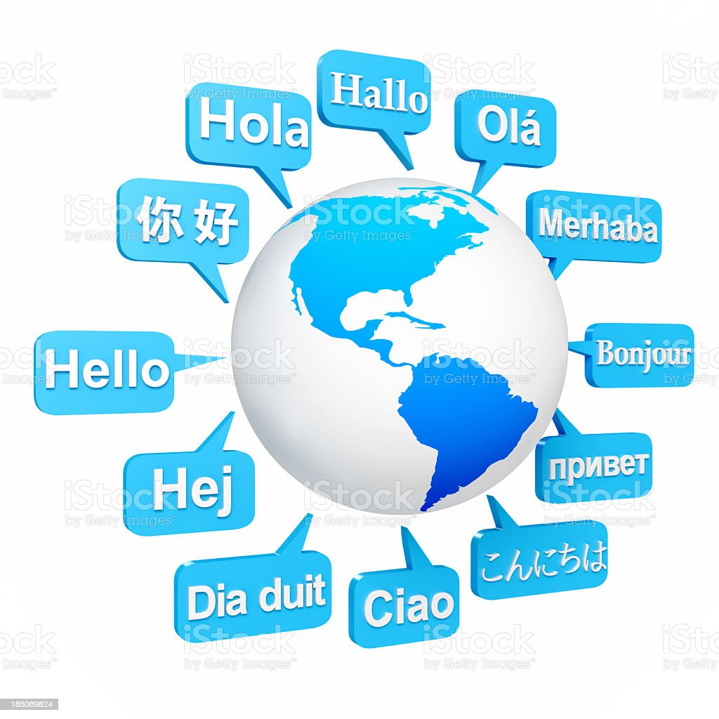Ways to say hello in different languages around earth stock photo