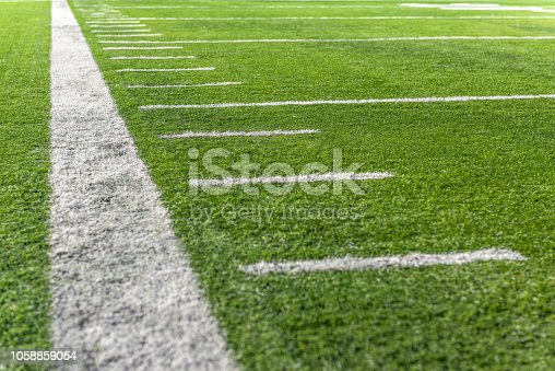 Typical yard line marks on American Football Field