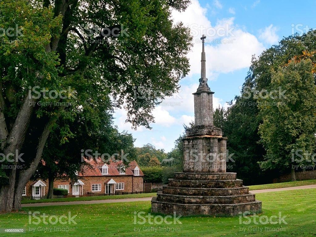 Wayside cross in Castle Rising, Norfolk stock photo