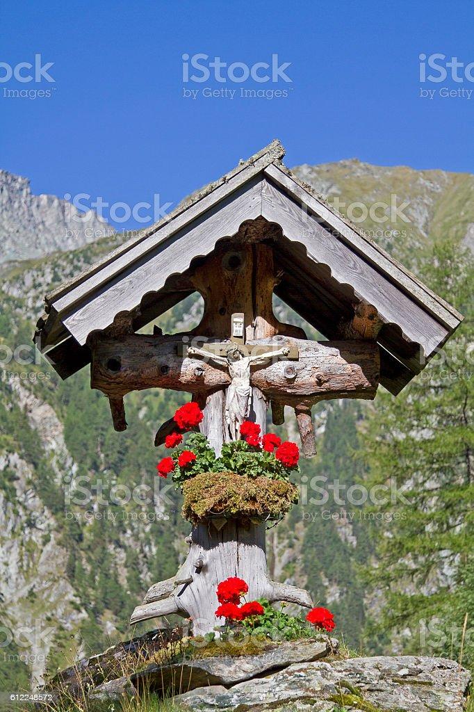 Wayside Cross  in East Tyrol stock photo