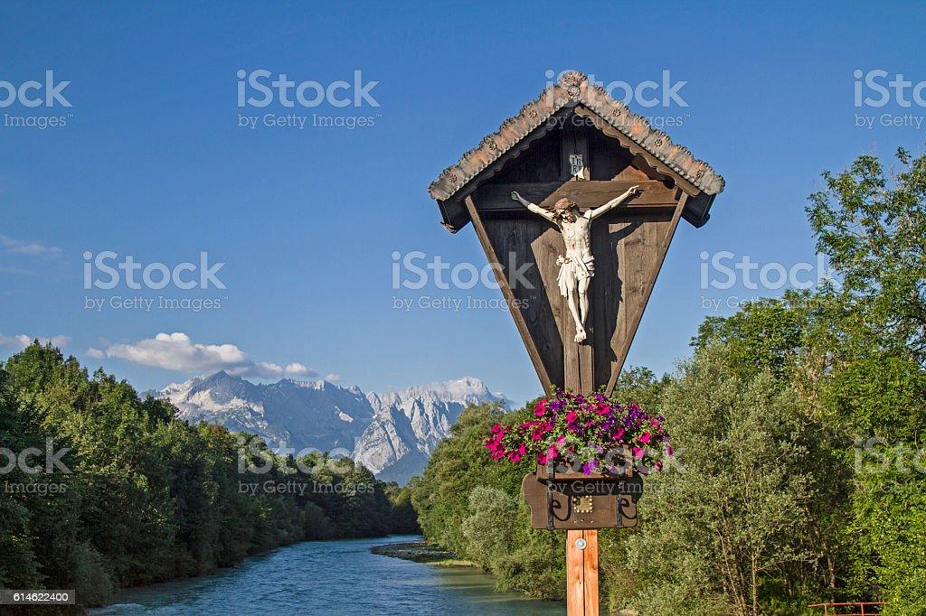 Wayside cross with Wetterstein views stock photo