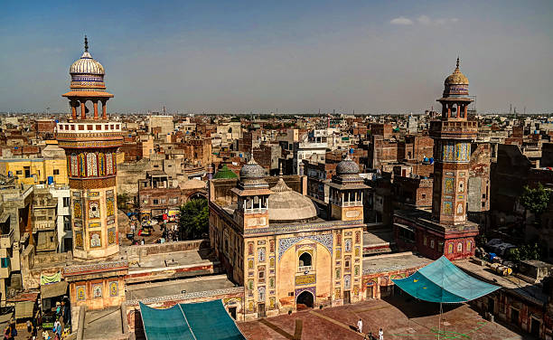 Wazir Khan Mosque, Lahore, Pakistan Panorama of Wazir Khan Mosque, Lahore, Pakistan lahore pakistan stock pictures, royalty-free photos & images