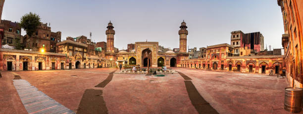 Wazir Khan Mosque Pakistan Wazir Khan Mosque in Lahore is renowned for its intricate tile work known as kashi-kari, as well as its interior surfaces that are almost entirely embellished with elaborate Mughal-era frescoes. lahore pakistan stock pictures, royalty-free photos & images
