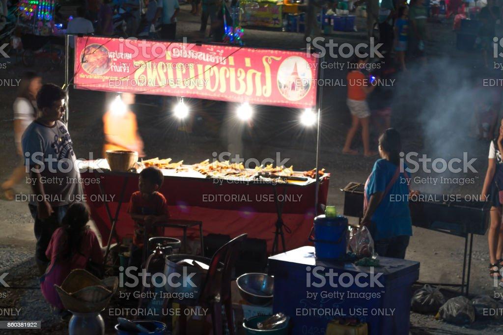 Wạd th̀a krabụ̄x  Krathum Baen Samut Sakhon Annual of the temple. stock photo