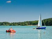 Borsk, Pomeranian province, Poland. Wdzydze lake shore in Tuchola Pinewoods region.