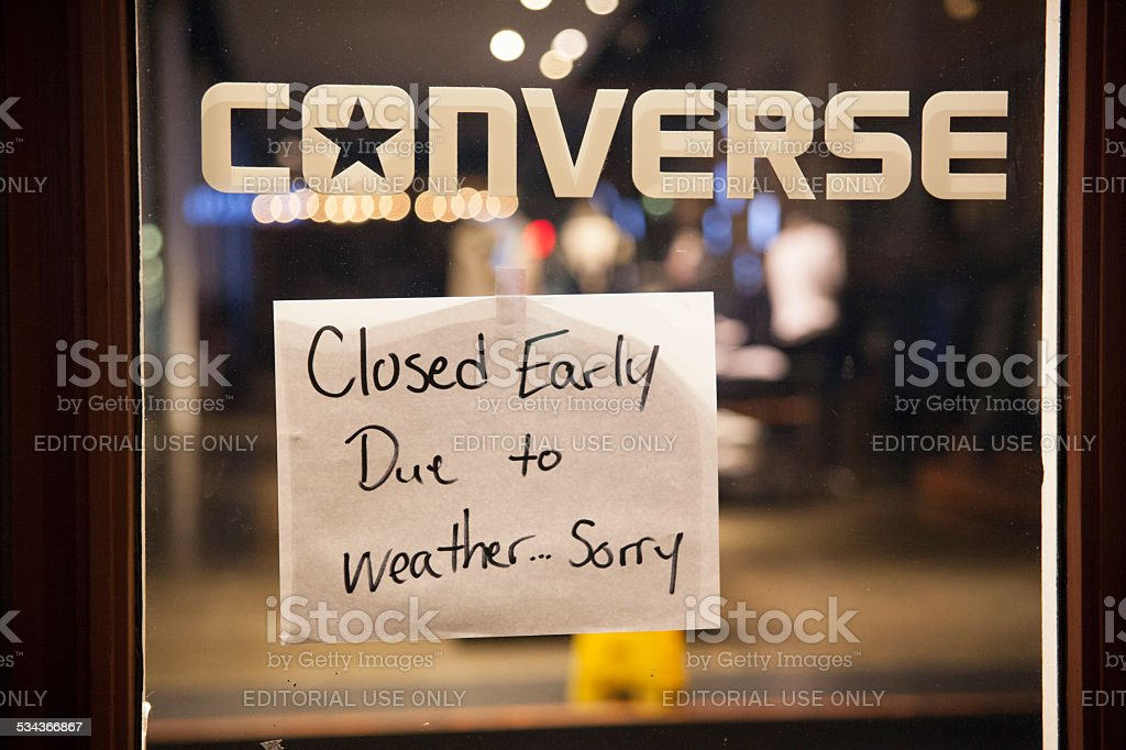 We are closing due the snowstorm stock photo