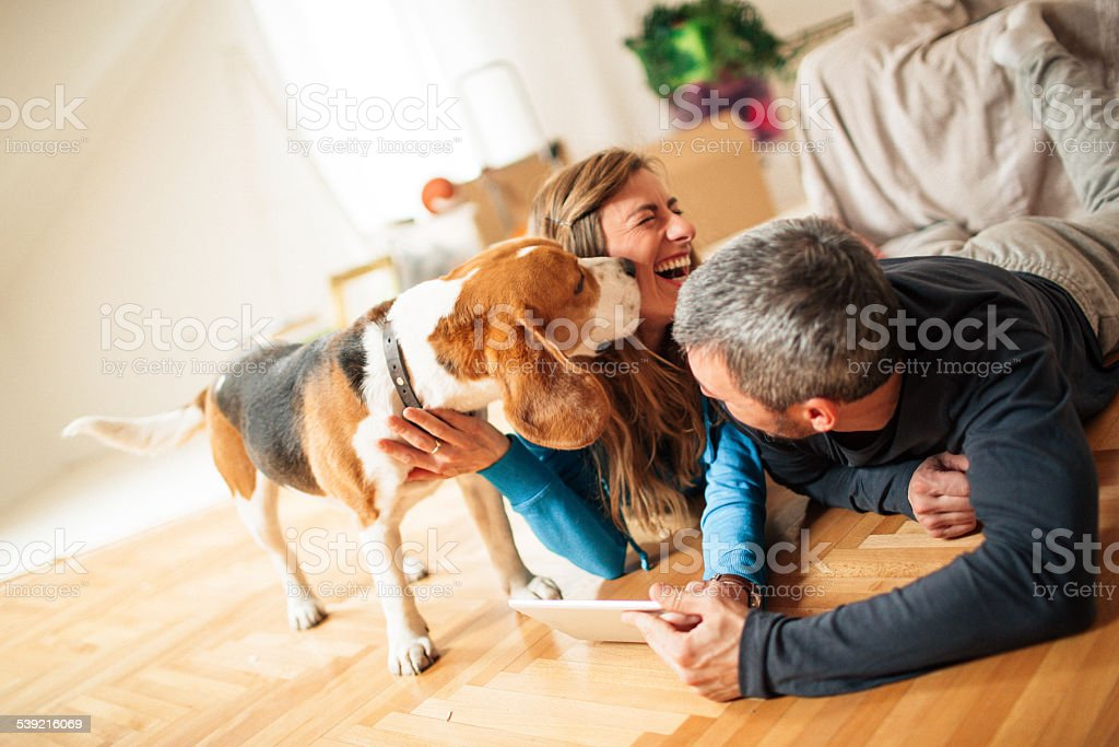 We are happy in our new home stock photo