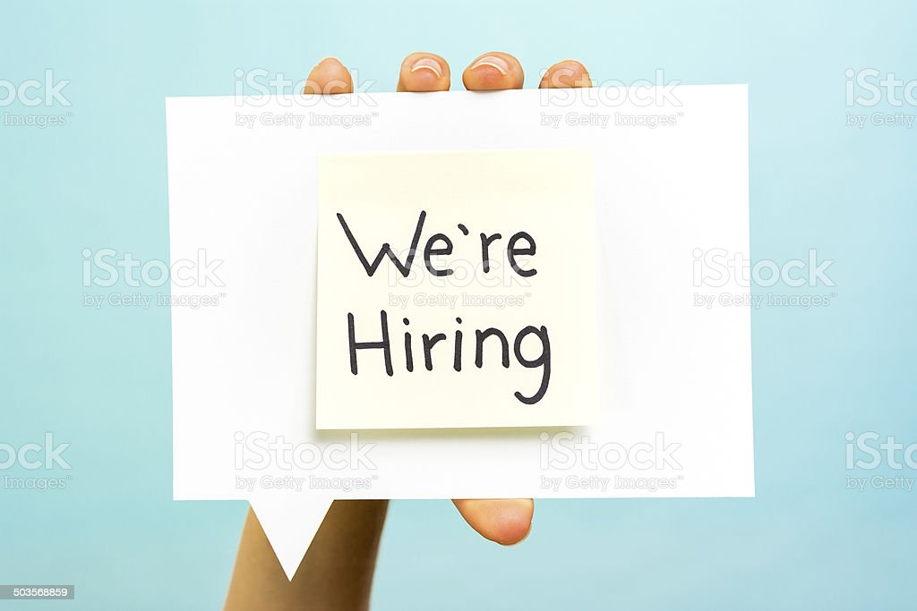We are hiring business job vacant note concept blue background stock photo