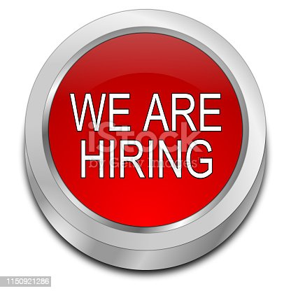 1153648747 istock photo We are hiring Button - 3D illustration 1150921286