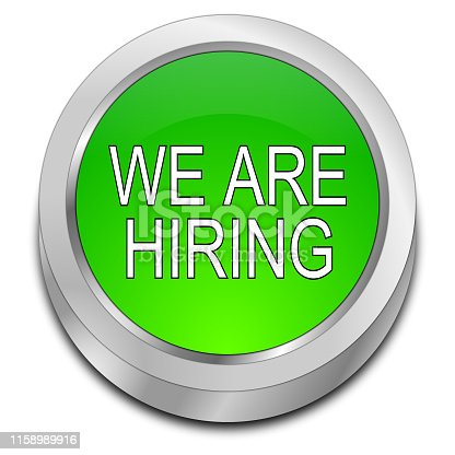 1153648747 istock photo We are hiring Button - 3D illustration 1158989916