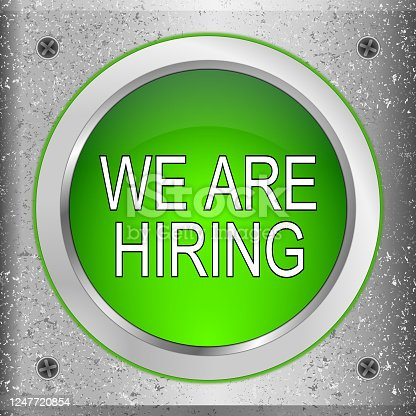 1153648747 istock photo We are hiring Button on a metal plate - 3D illustration 1247720854