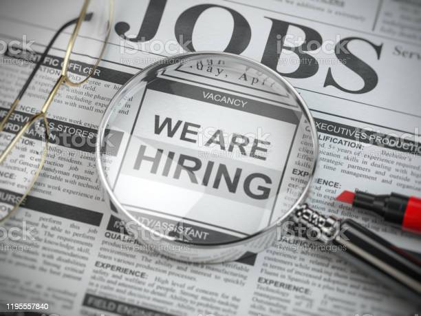 We are hiring job search and employment concept magnified glass with picture id1195557840?b=1&k=6&m=1195557840&s=612x612&h=j5ctvp0ajgrjxhrrkg ld0gqhitzrrvdqrpcwtwbo8i=