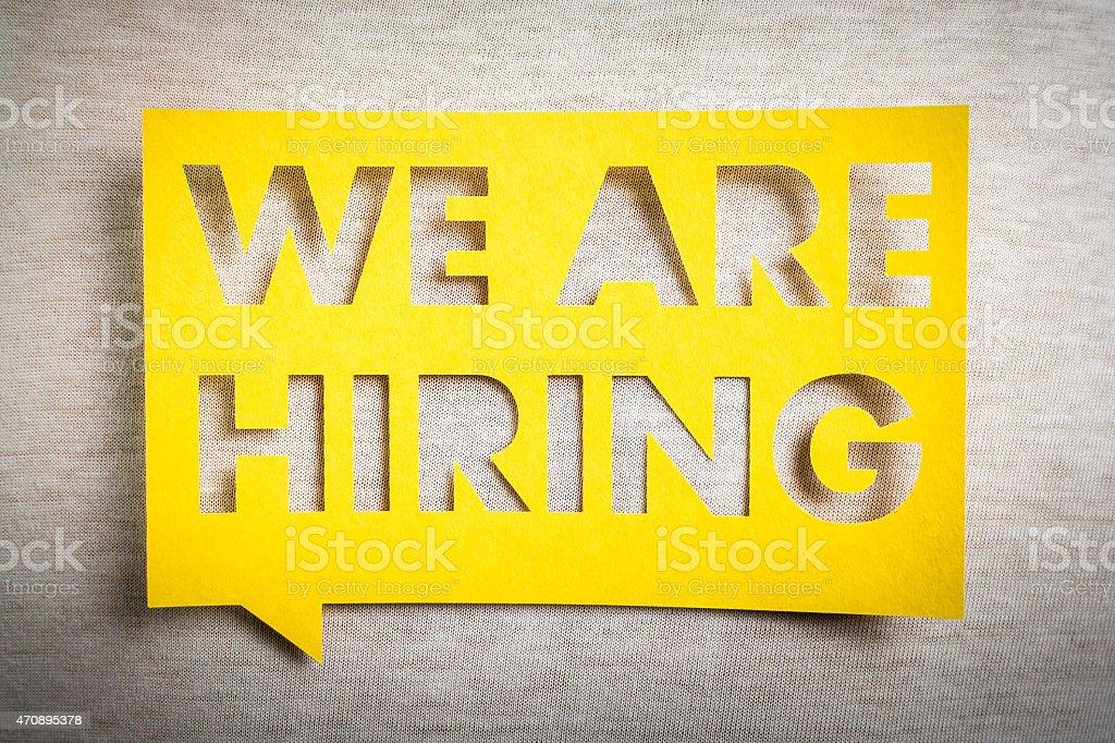 'We are hiring' on yellow speech bubble. Job board design. stock photo