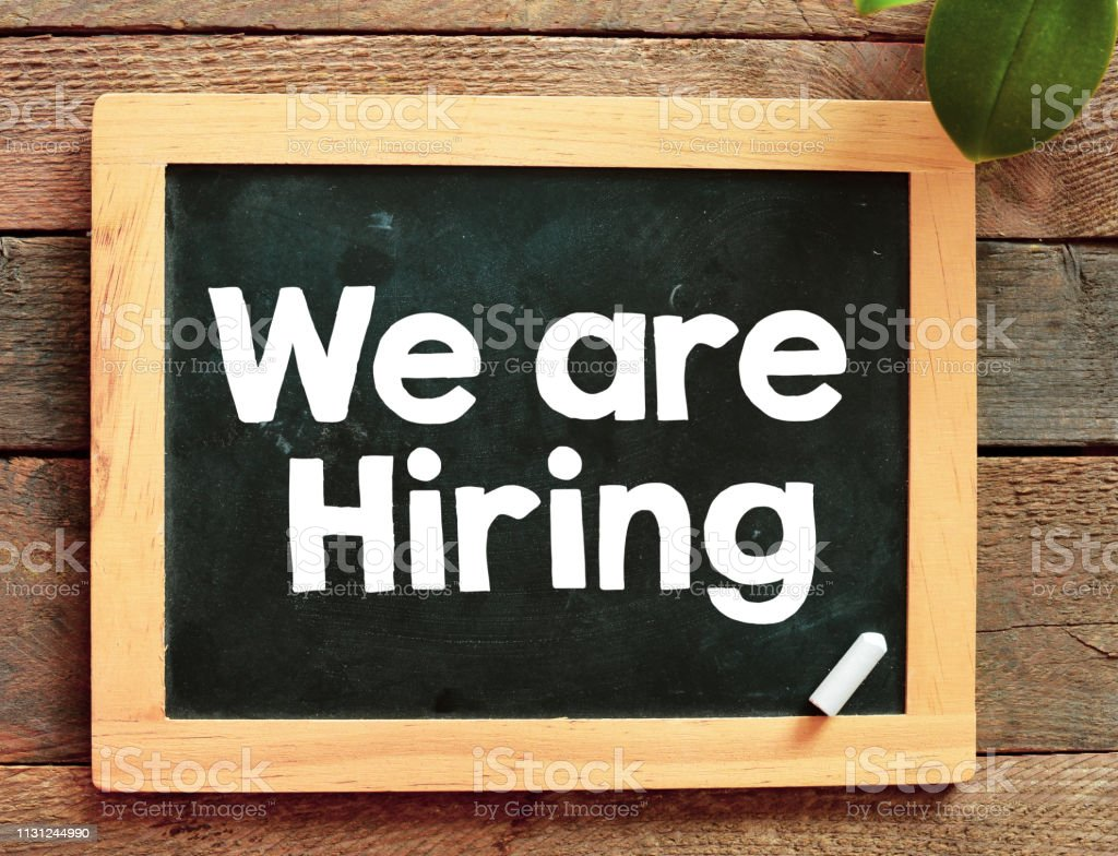 We are Hiring text business concept stock photo