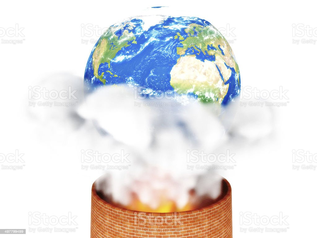 We are killing our planet. White backgound. stock photo