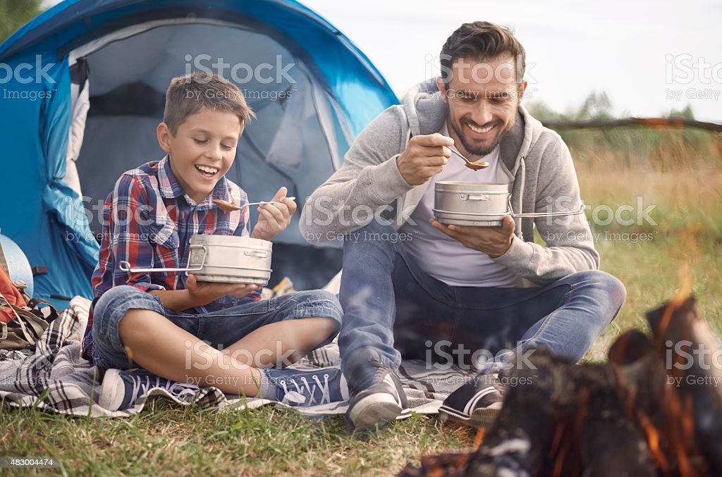 We are very hungry after all day of hiking stock photo