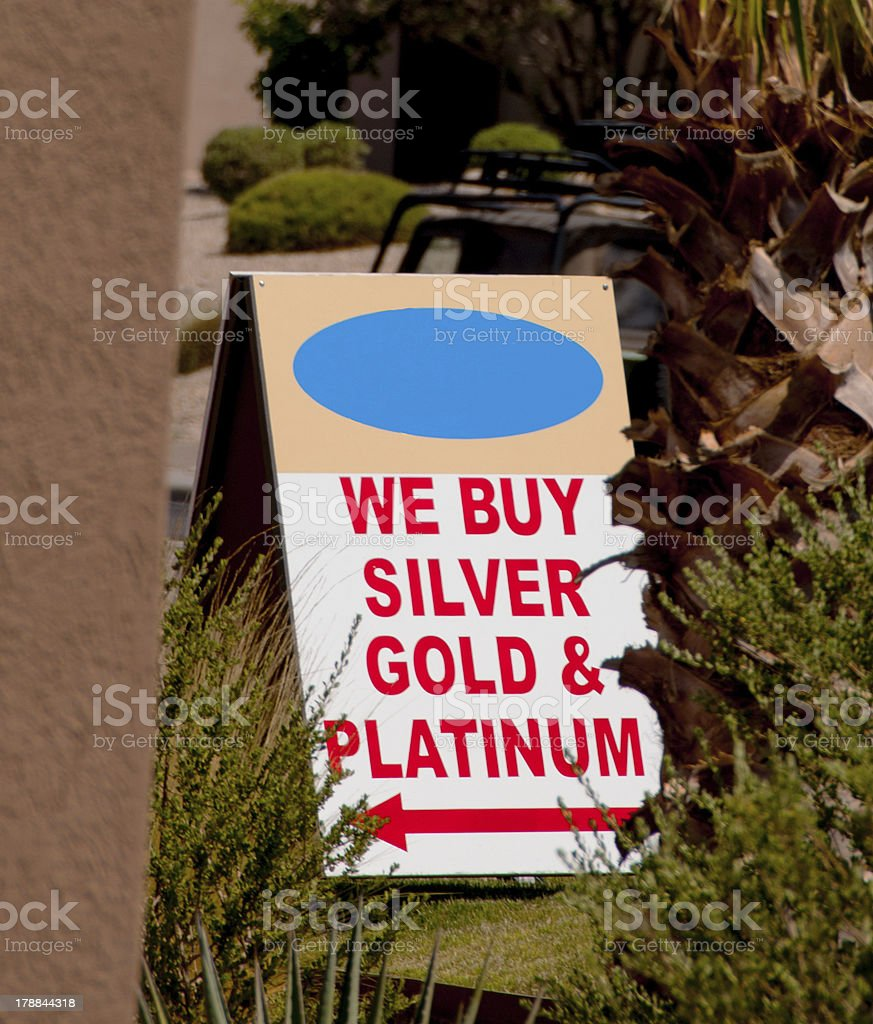 We Buy Silver and Gold Sign royalty-free stock photo