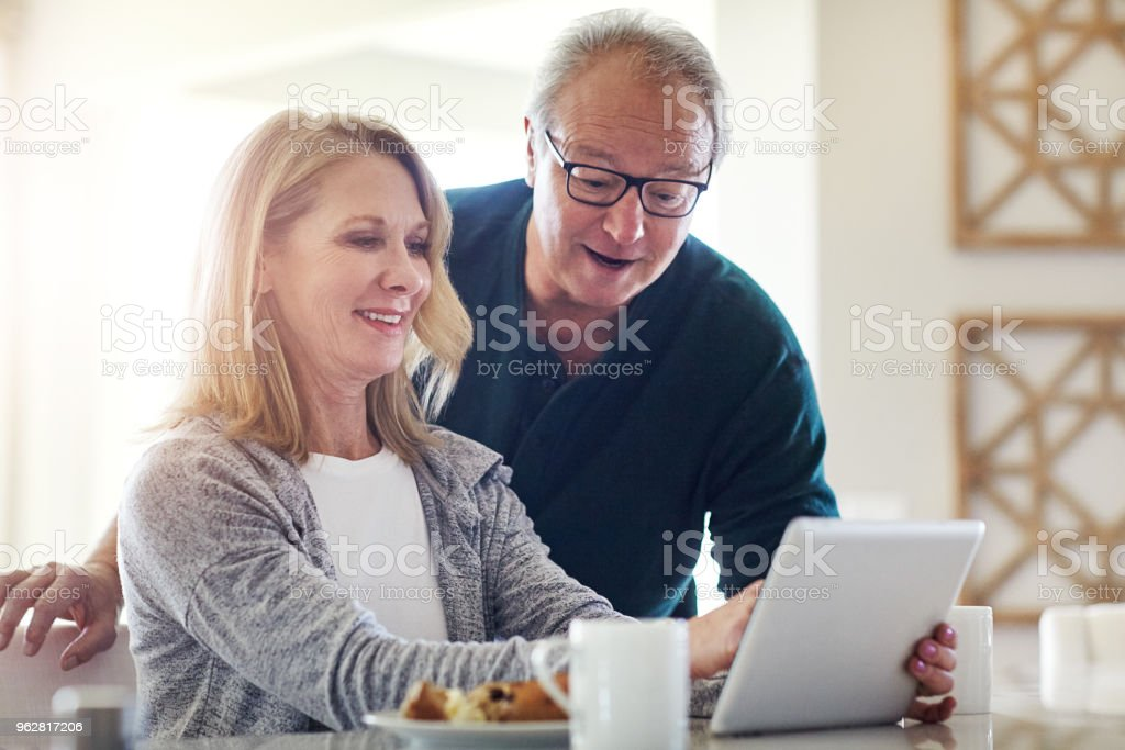 We can check our pension plan from right here stock photo