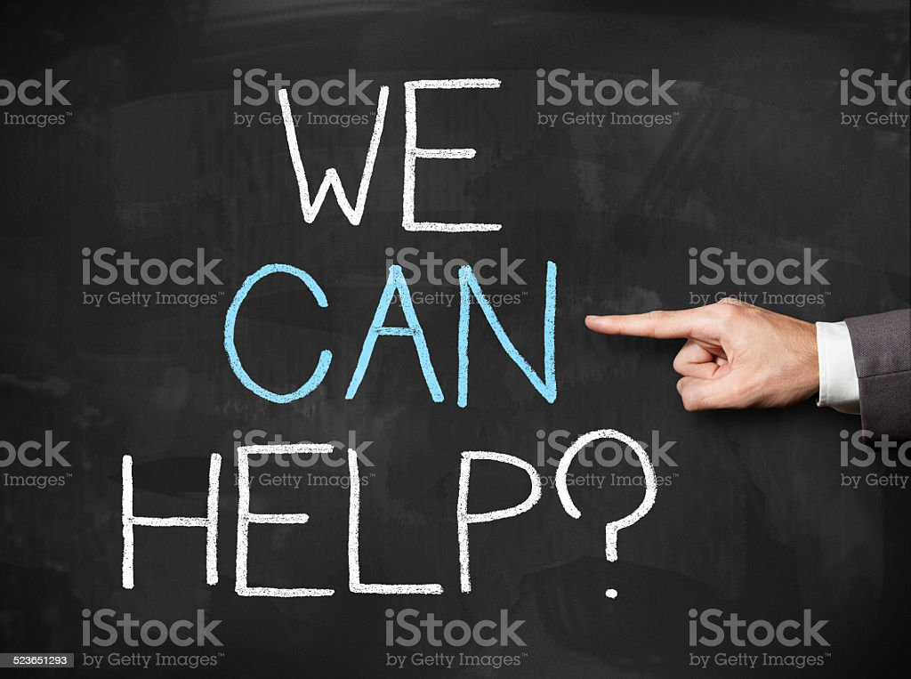 We can help / Blackboard concept (Click for more) stock photo
