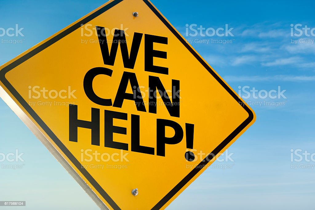 We can help / Warning sign concept (Click for more) stock photo