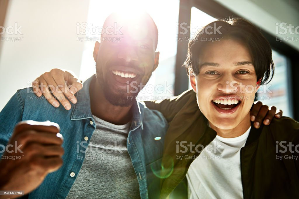 We did it together! stock photo