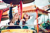 Amusement Park, Woman, Friendship, Amusement Park Ride, Group Of People