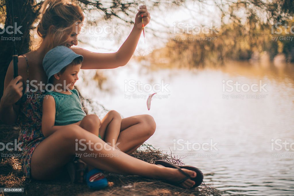 We have caught a fish stock photo
