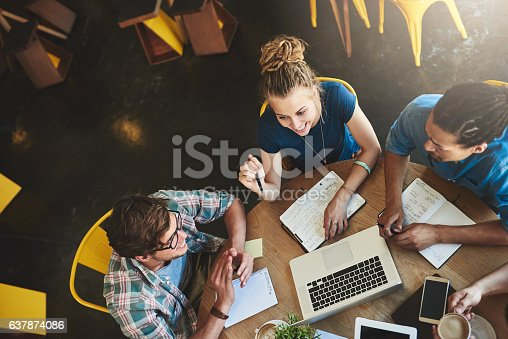 High angle shot of a group of students studying in a coffee shop