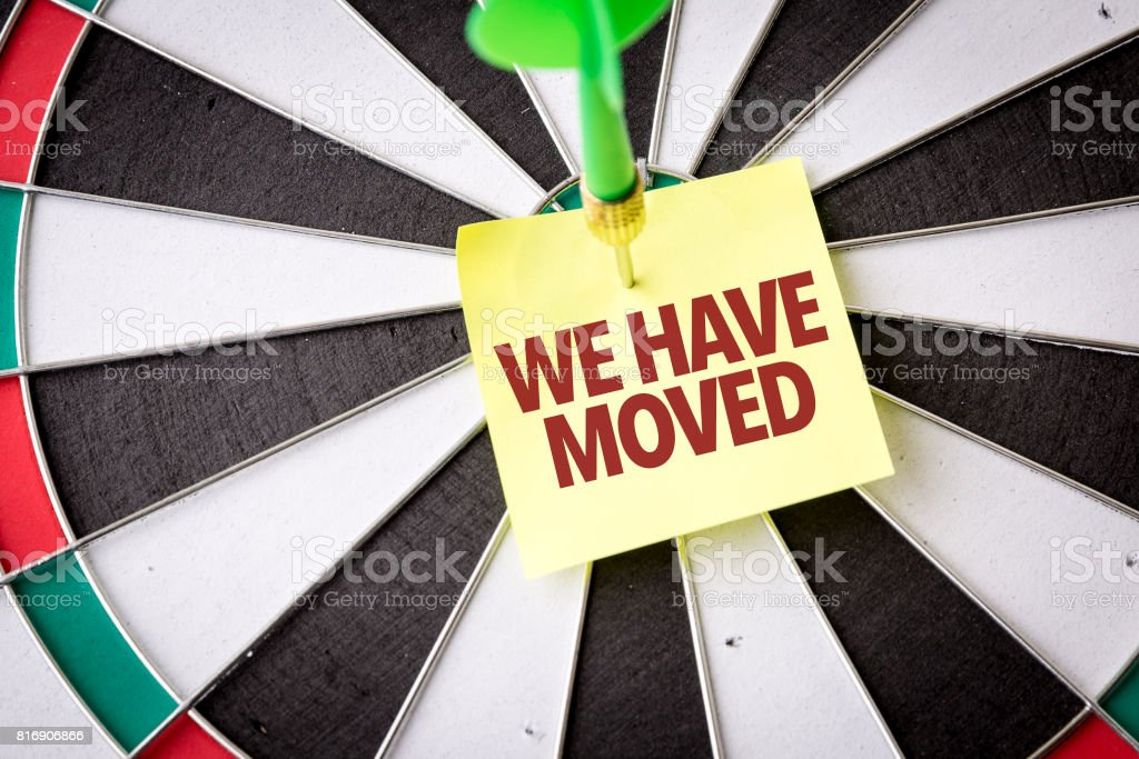 We Have Moved stock photo