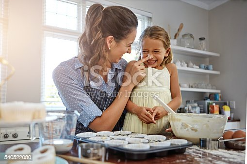 Cropped shot of a mother and her daughter baking in the kitchen