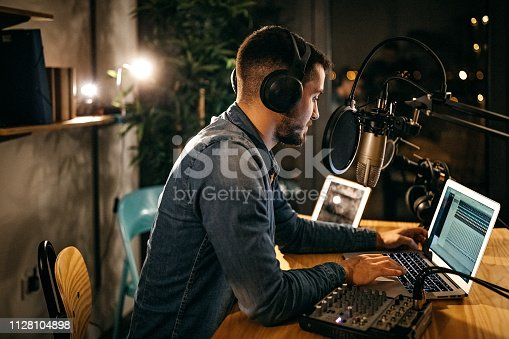 Colleagues in radio station making show