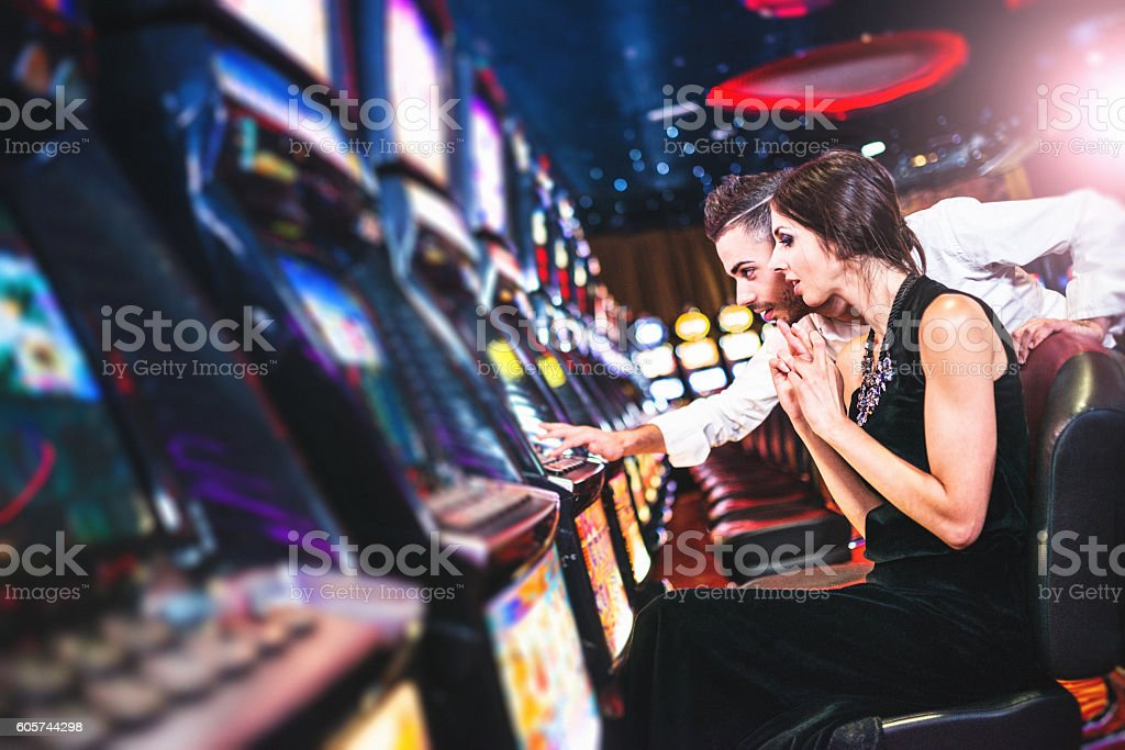we have win the jackpot at the casino stock photo